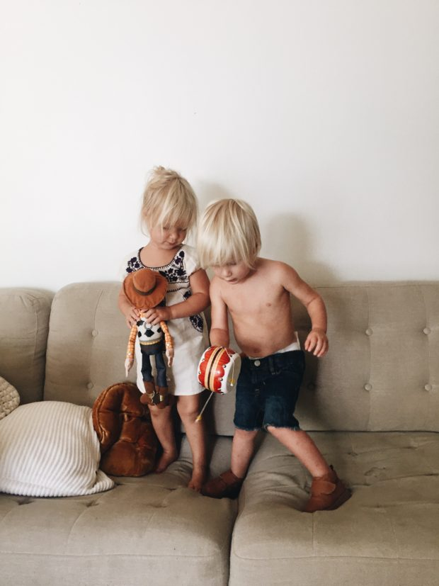 Toddlers on a sofa