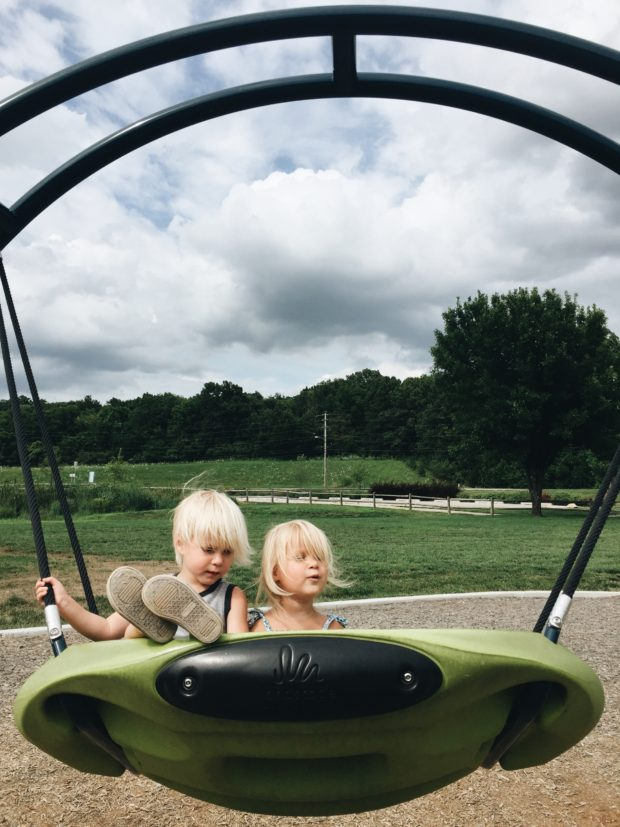 Toddlers on a swing