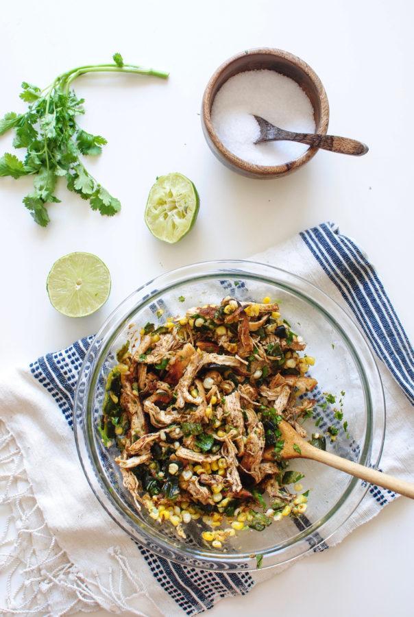 Roasted Corn, Poblano Pepper and Chicken Quesadillas / Bev Cooks
