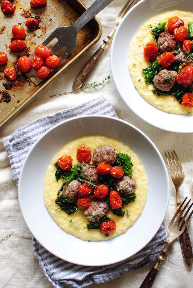 Sausage Meatballs with Kale and Creamy Polenta / Bev Cooks