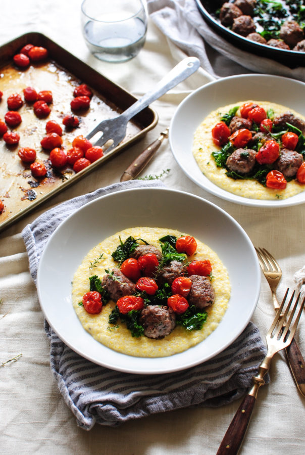 Sausage Meatballs with Kale and Creamy Polenta / Bev Cooks