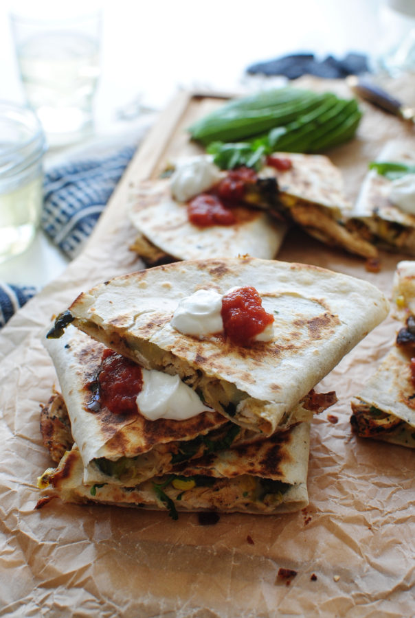Roasted Corn, Poblano Pepper and Chicken Quesadillas / Bev Cooks