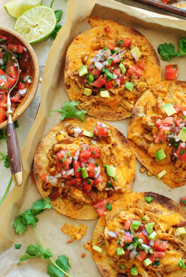 Slow Cooker Chicken and Bean Tostadas / Bev Cooks