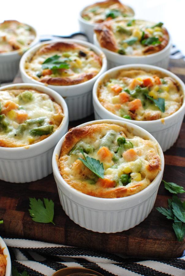 Cheesy Biscuit Pot Pies / Bev Cooks