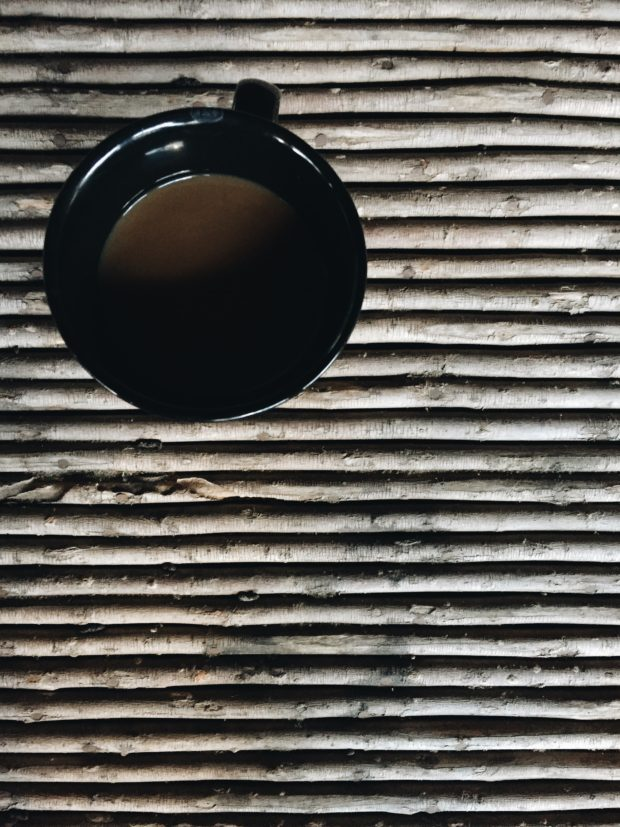 Coffee on wicker coffee table