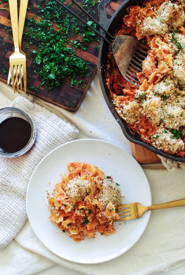 Skillet Chicken and Creamy Bow Tie Pasta / Bev Cooks