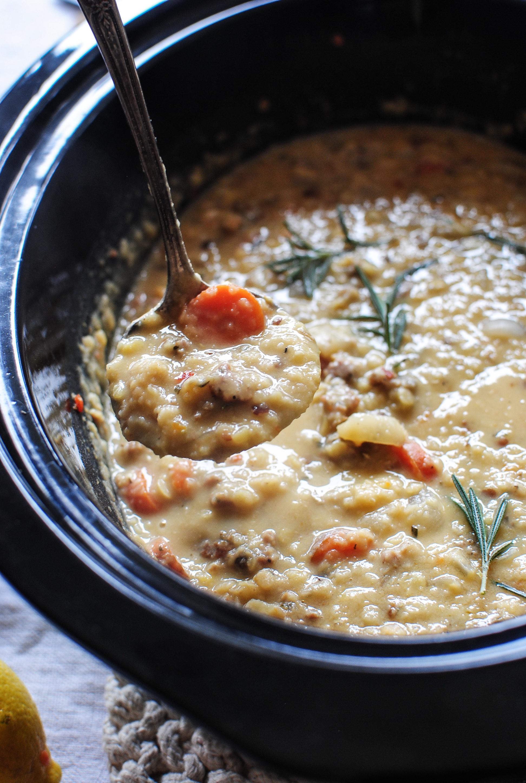 Slow Cooker Lentil and Sausage Soup | Bev Cooks