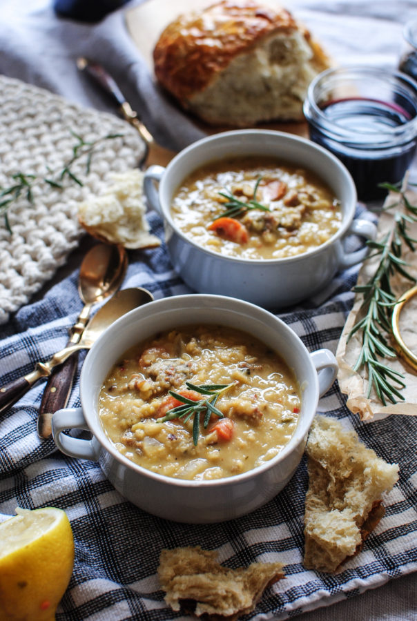 Slow Cooker Lentil and Sausage Soup / Bev Cooks
