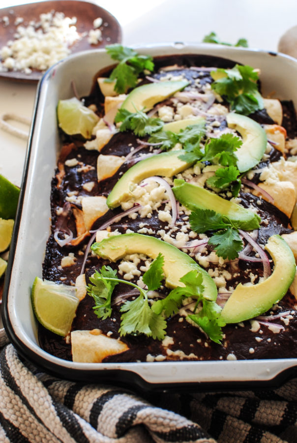 Chicken Enchiladas with a Ridiculously Easy Mole Sauce / Bev Cooks
