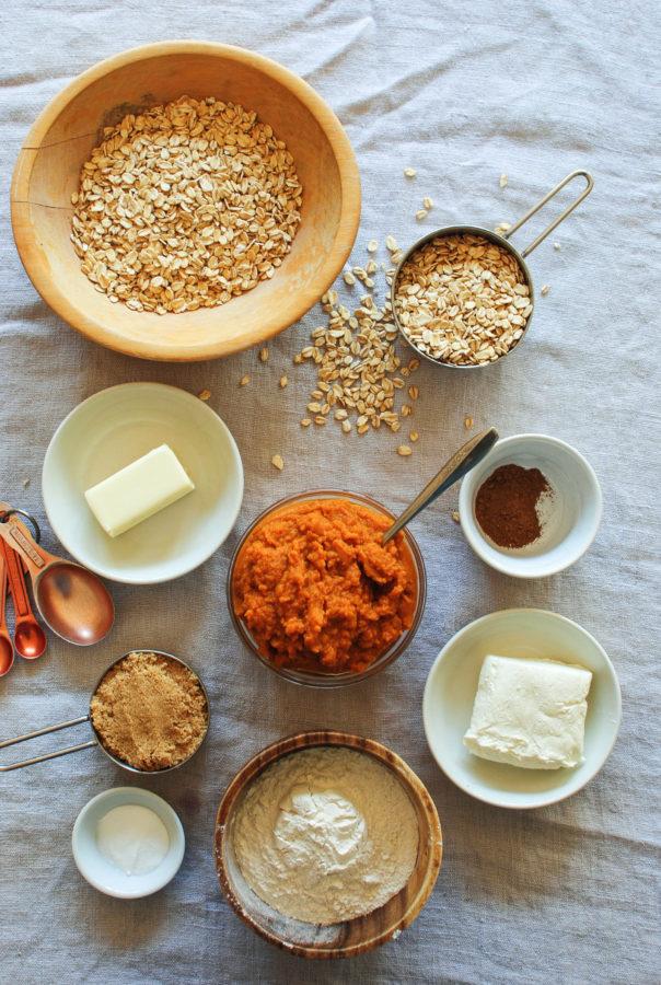 Pumpkin Oatmeal Cookies with a Cream Cheese Glaze / Bev Cooks