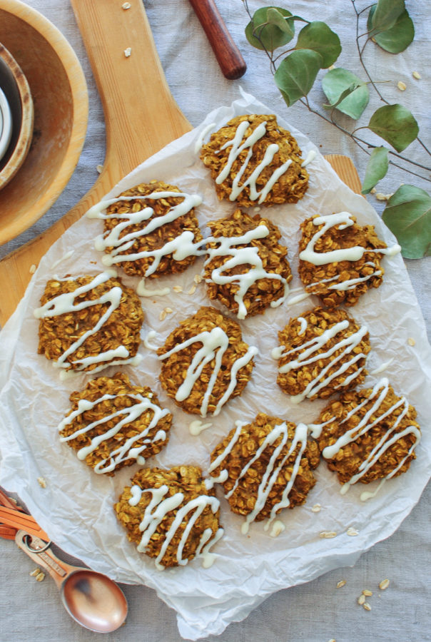 Pumpkin Oatmeal Cookies with a Cream Cheese Glaze / Bev Cooks