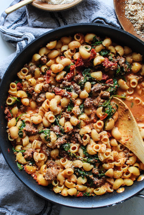 Creamy Pasta with Sausage and Kale / Bev Cooks