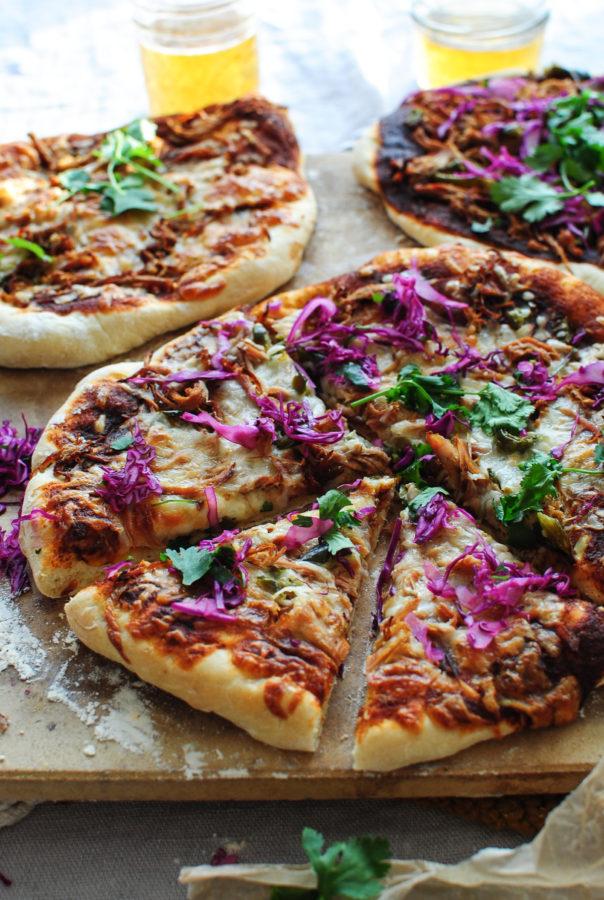 BBQ Pulled Pork Pizza / Bev Cooks