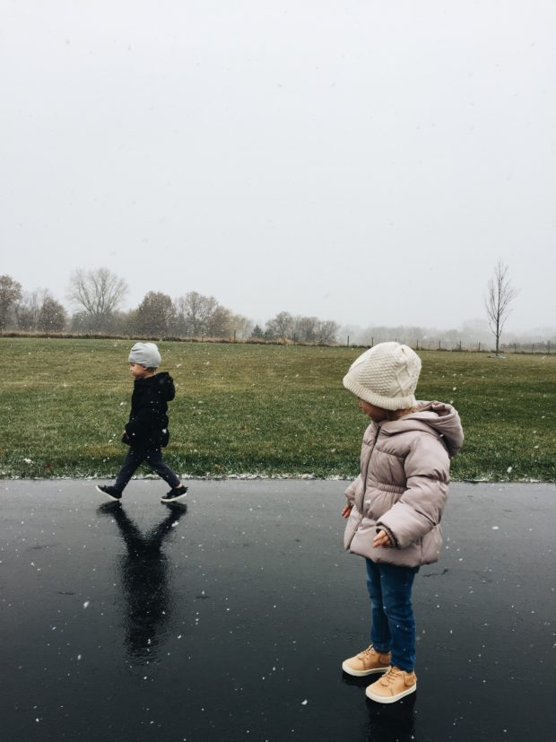 Toddlers in snowflakes