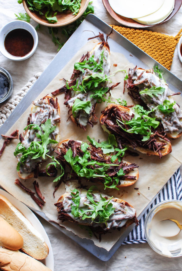 Slow Cooker Roast Beef Melts / Bev Cooks