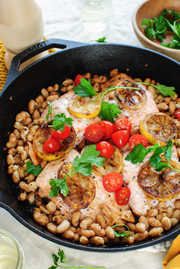 Skillet Salmon with White Beans and Charred Lemon / Bev Cooks