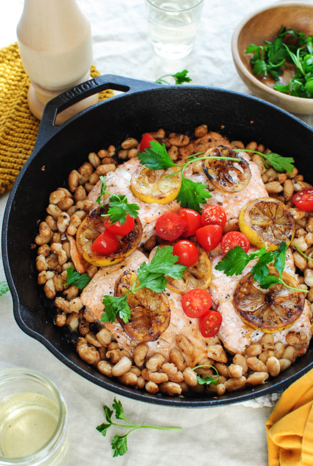 Skillet Salmon with White Beans and Charred Lemon