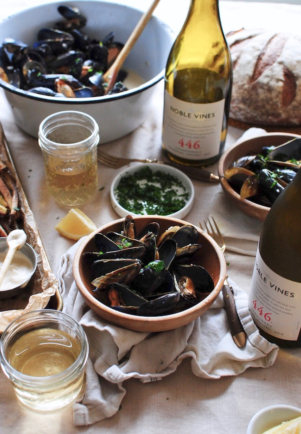 Steamed Mussels with Fries - A Wine Pairing with Noble Vines - Bev Cooks