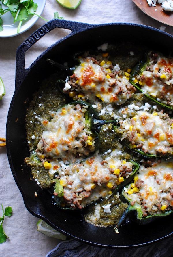 Salsa Verde Pork-Stuffed Poblano Peppers / Bev Cooks