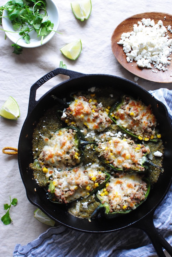 Salsa Verde Pork-Stuffed Poblano Peppers / Bev Cooks
