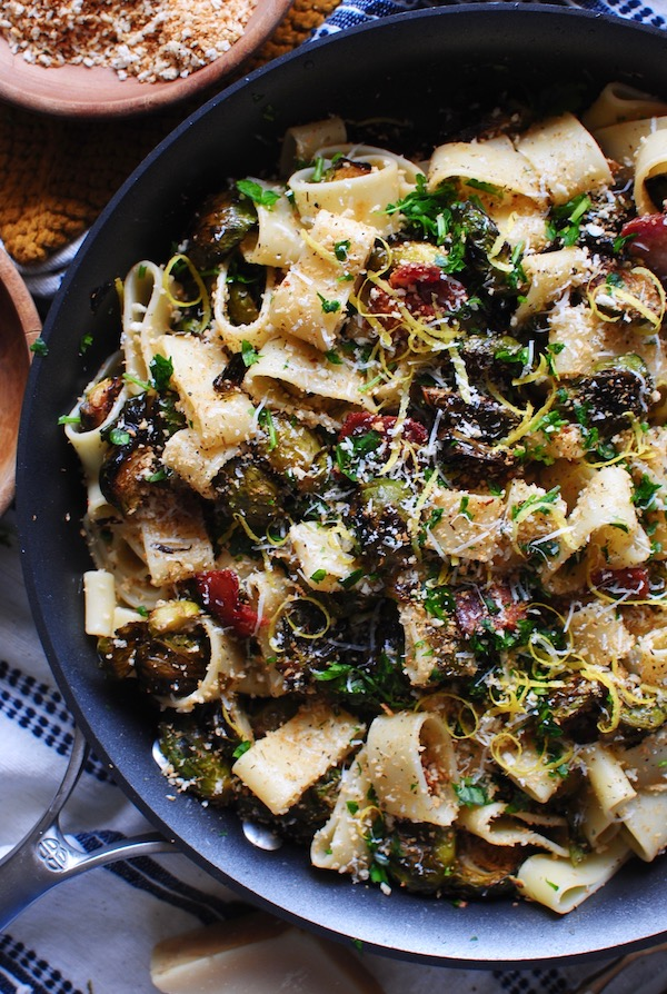 Pasta Rings with Roasted Brussels Sprouts and Bacon / Bev Cooks