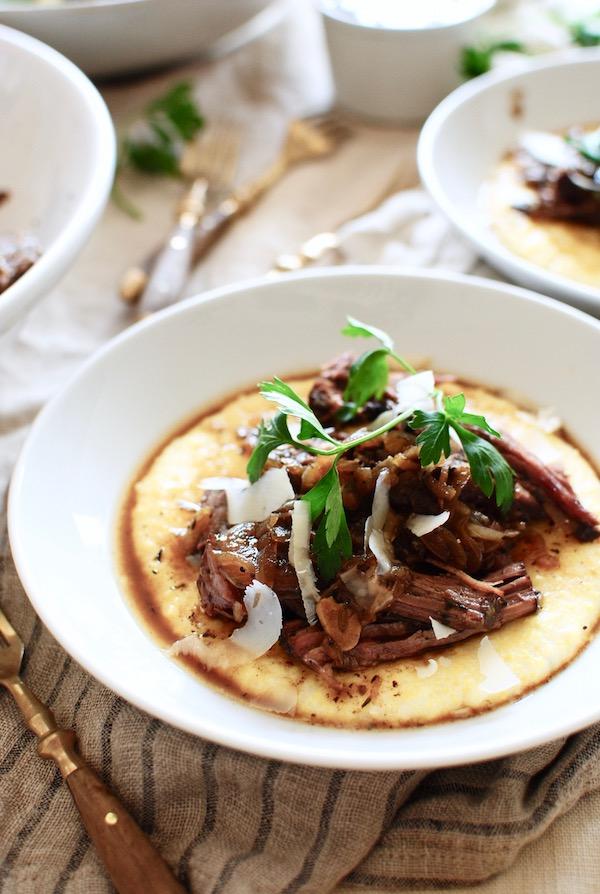 Slow Cooker French Onion Pot Roast over Creamy Polenta / Bev Cooks