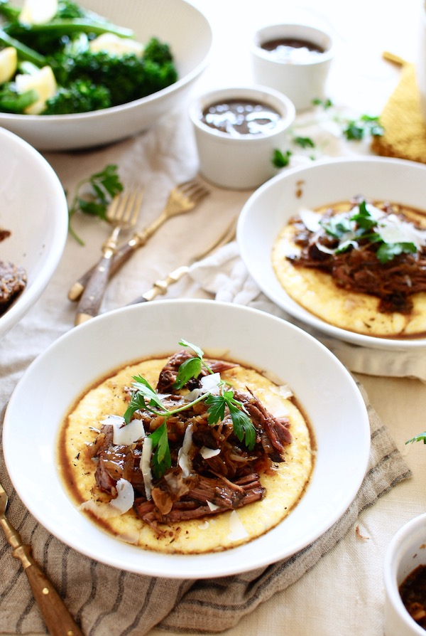 Slow Cooker French Onion Pot Roast over Creamy Polenta / Bev Cooks