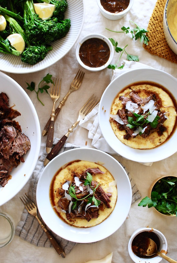 Slow Cooker French Onion Pot Roast over Creamy Polenta ...