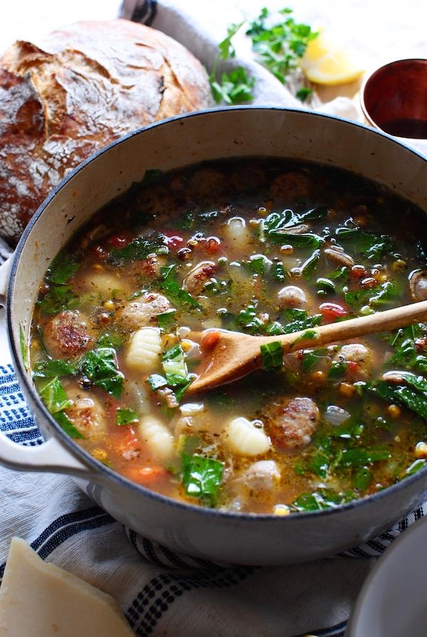 Gnocchi and Chicken Sausage Soup / Bev Cooks