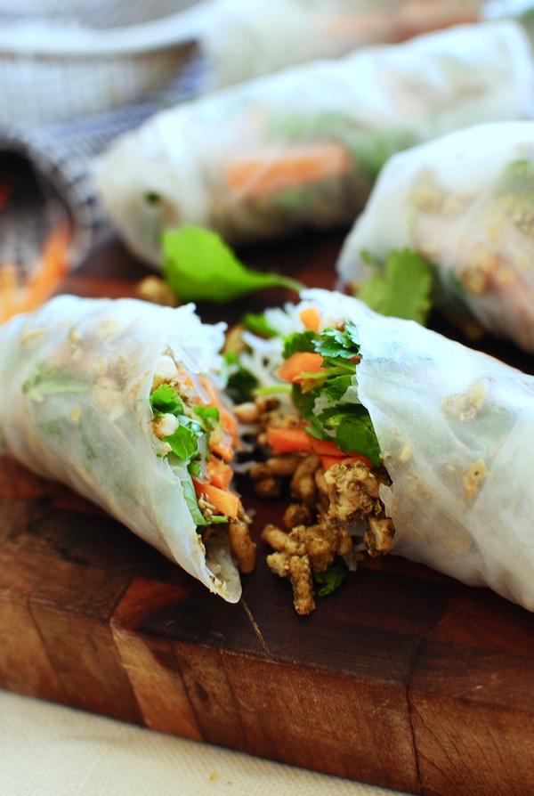 Chicken Spring Rolls / Bev Cooks
