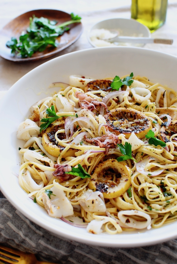 Simple Squid Piccata / Bev Cooks