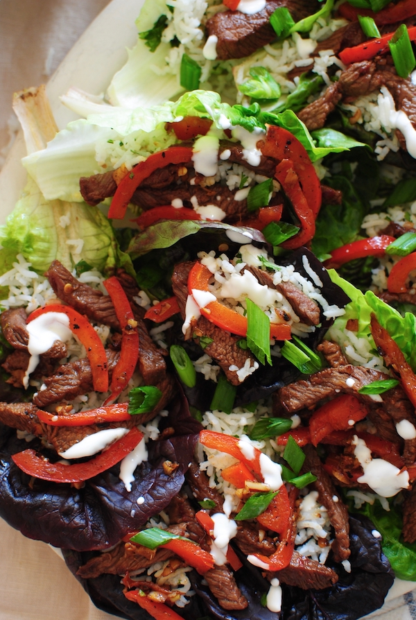 Asian Steak Lettuce Wraps / Bev Cooks