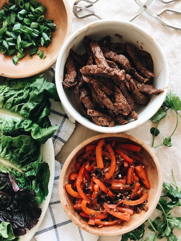 Asian Steak Lettuce Wraps / Bev Cooks