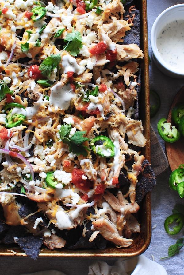 Slow Cooker Ranch Chicken Nachos / Bev Cooks
