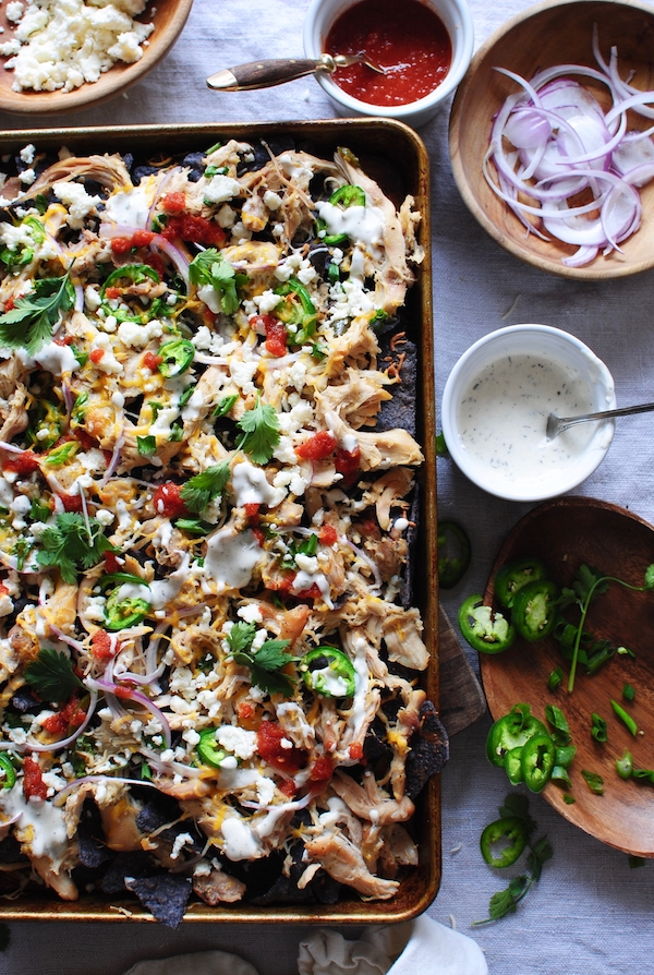 Slow Cooker Ranch Chicken Nachos / Bev Cooks