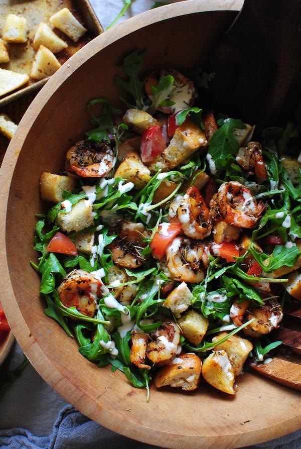 Shrimp Po' Boy Panzanella / Bev Cooks