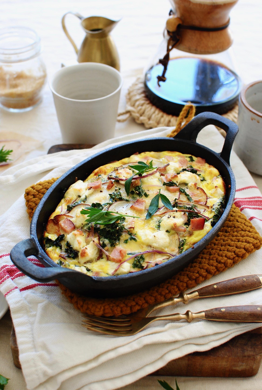 Egg, Potato and Ham Bake for Two / Bev Cooks