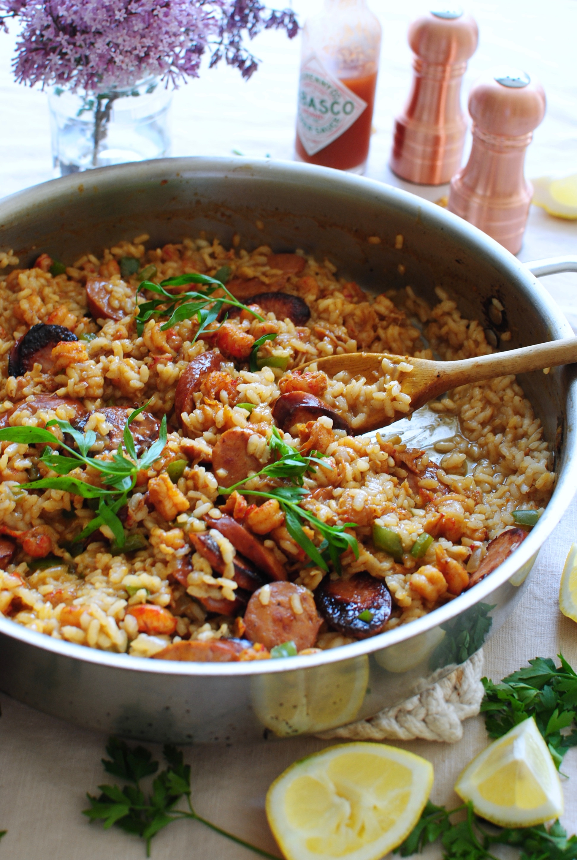 Cajun Risotto with Crawfish Tails and Andouille Sausage / Bev Cooks