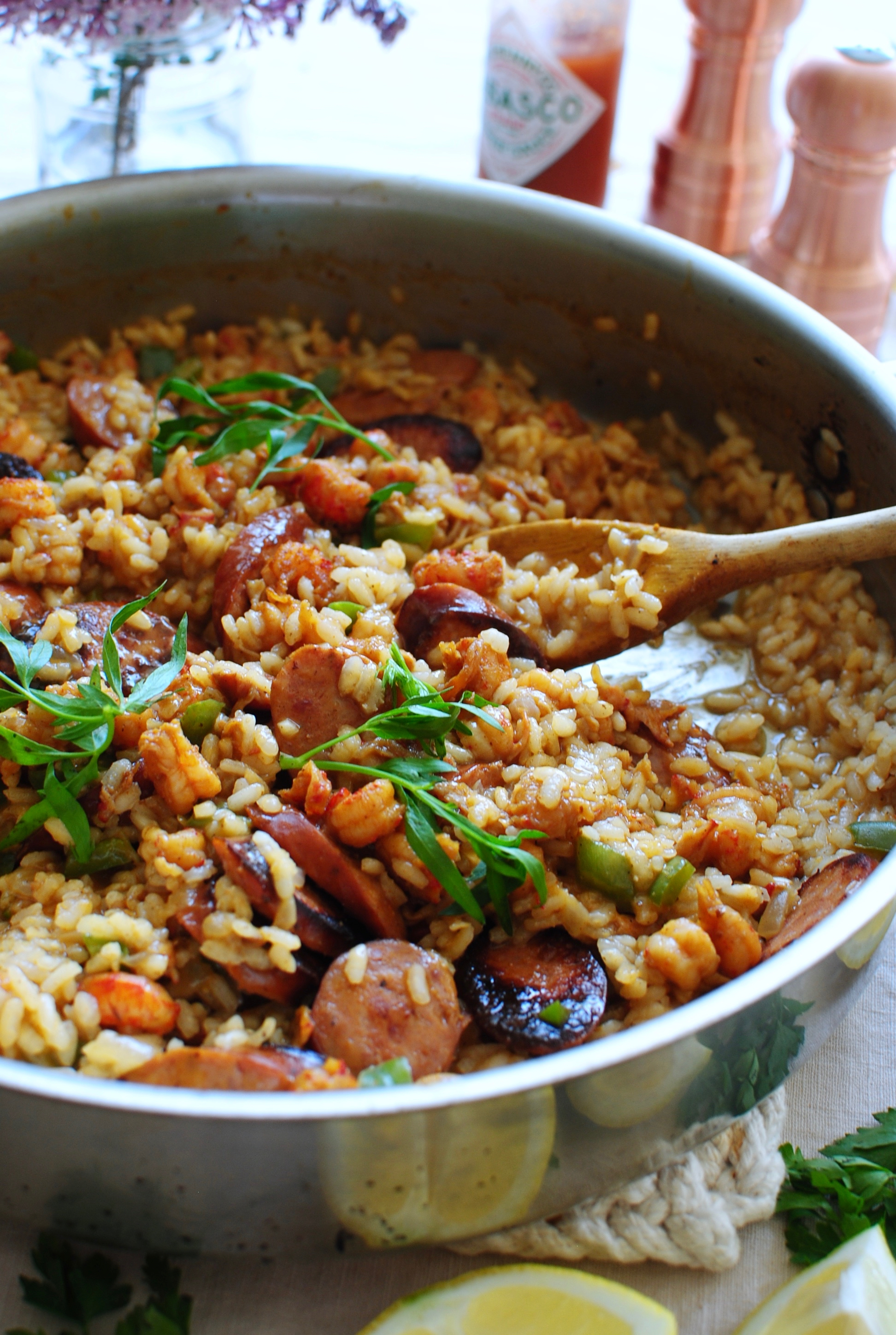 cajun risotto with crawfish tails and andouille sausage bev cooks