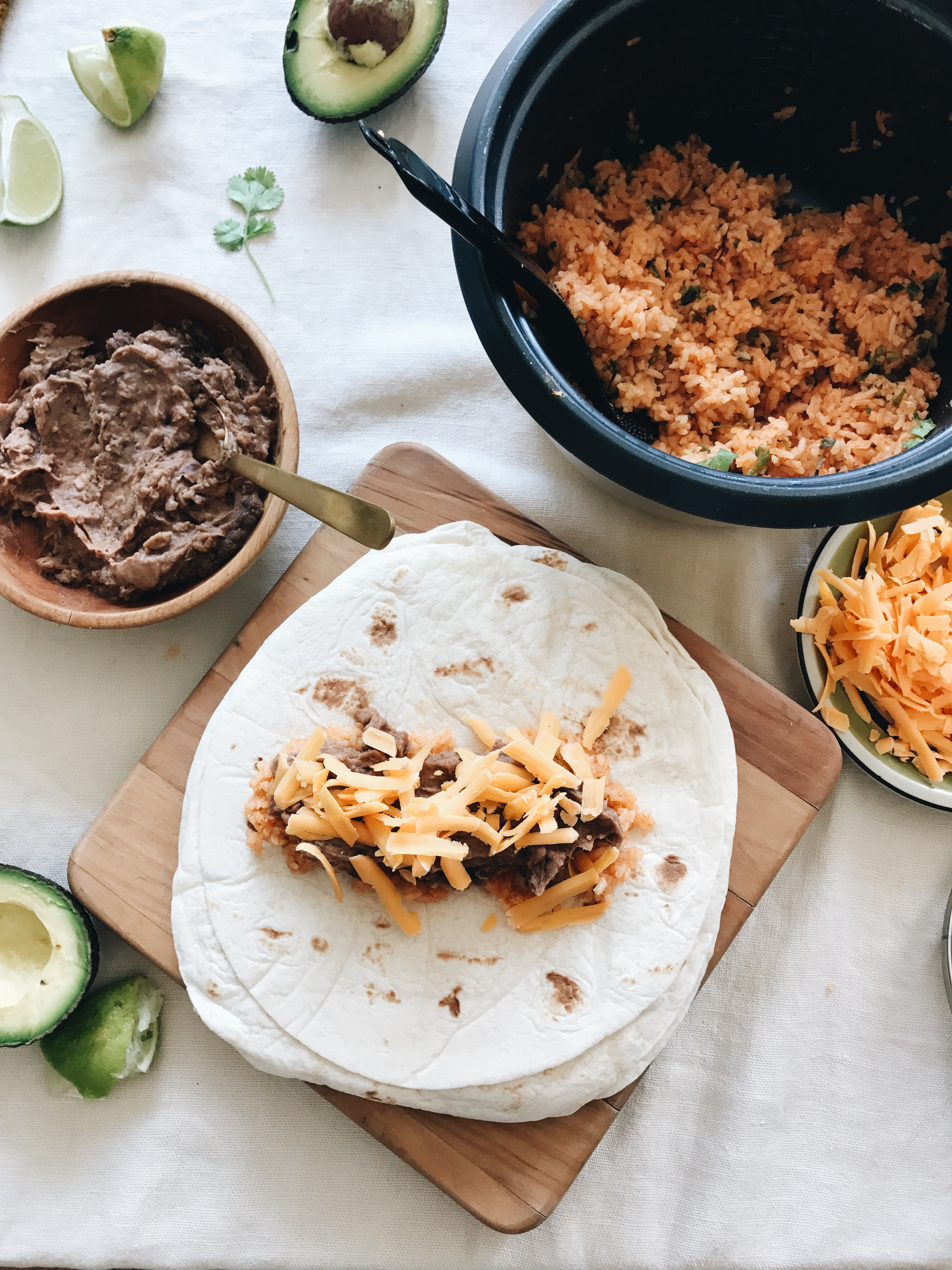 Easy Bean and Rice Burritos / Bev Cooks