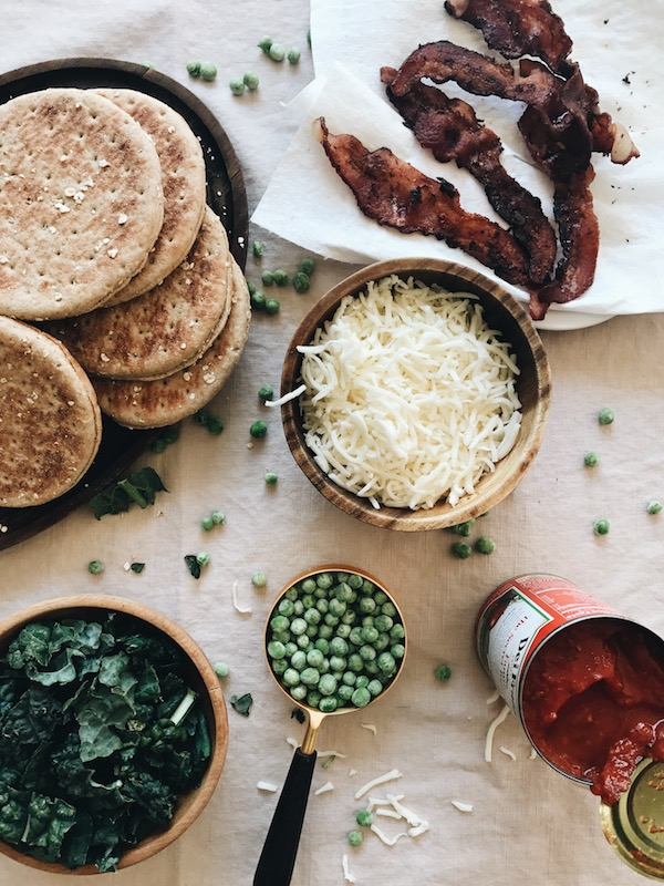 Mini Kale, Bacon and Pea Pizzas / Bev Cooks
