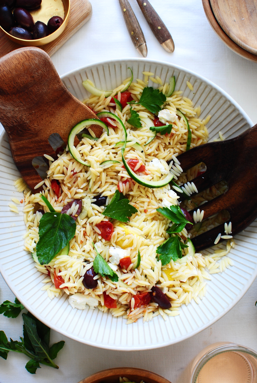 Greek Orzo Pasta Salad / Bev Cooks