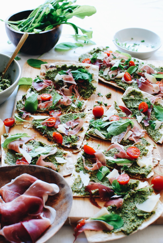 Flatout Flatbread Pizza with Grilled Broccoli Pesto and Prosciutto / Bev Cooks