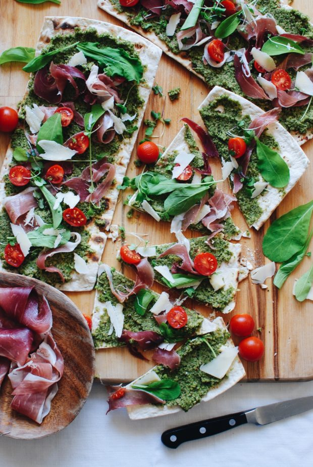 Flatout Flatbread Pizza with Grilled Broccoli Pesto and Prosciutto / Bev Cooks