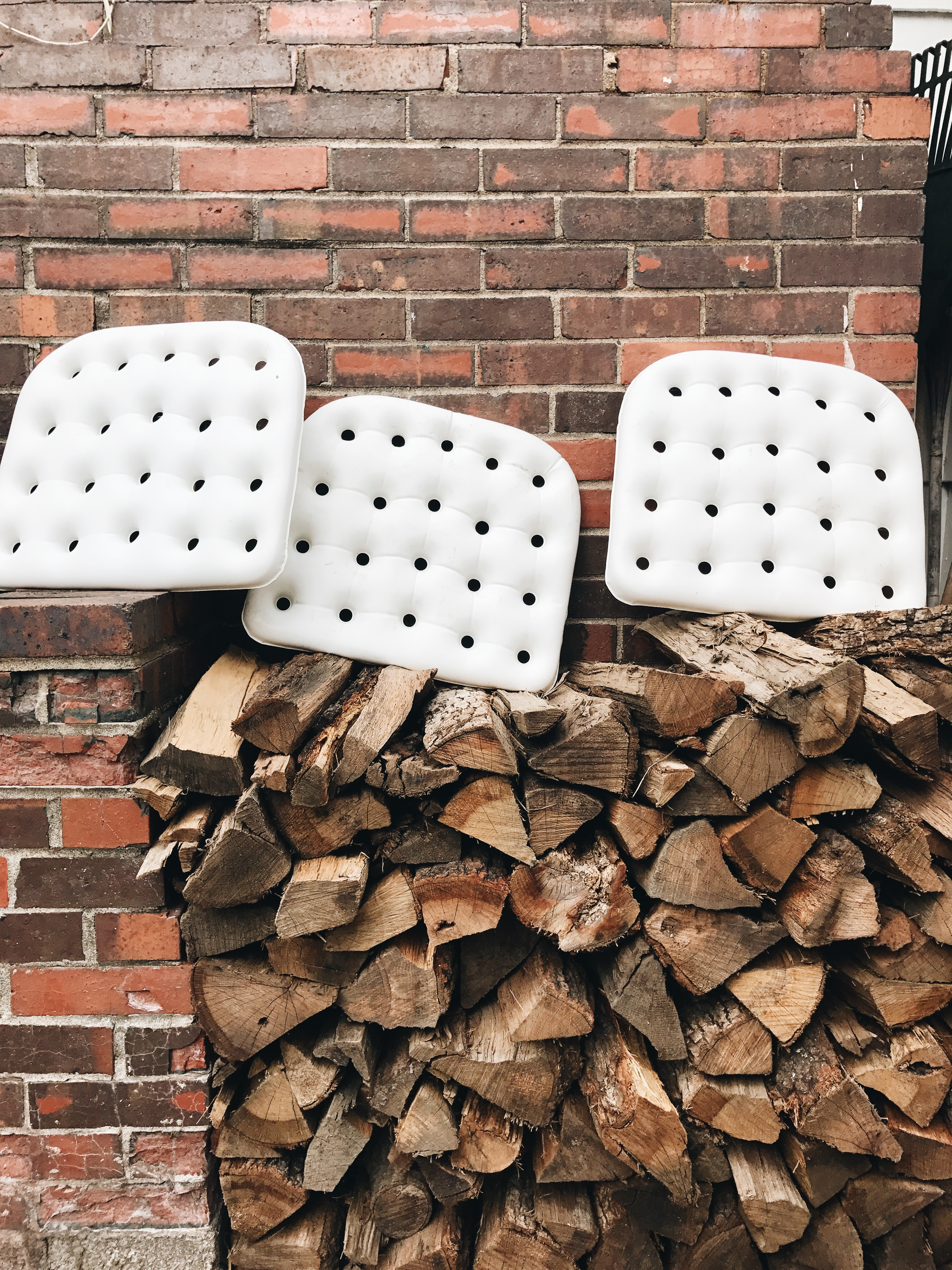 Firewood and seat cushions