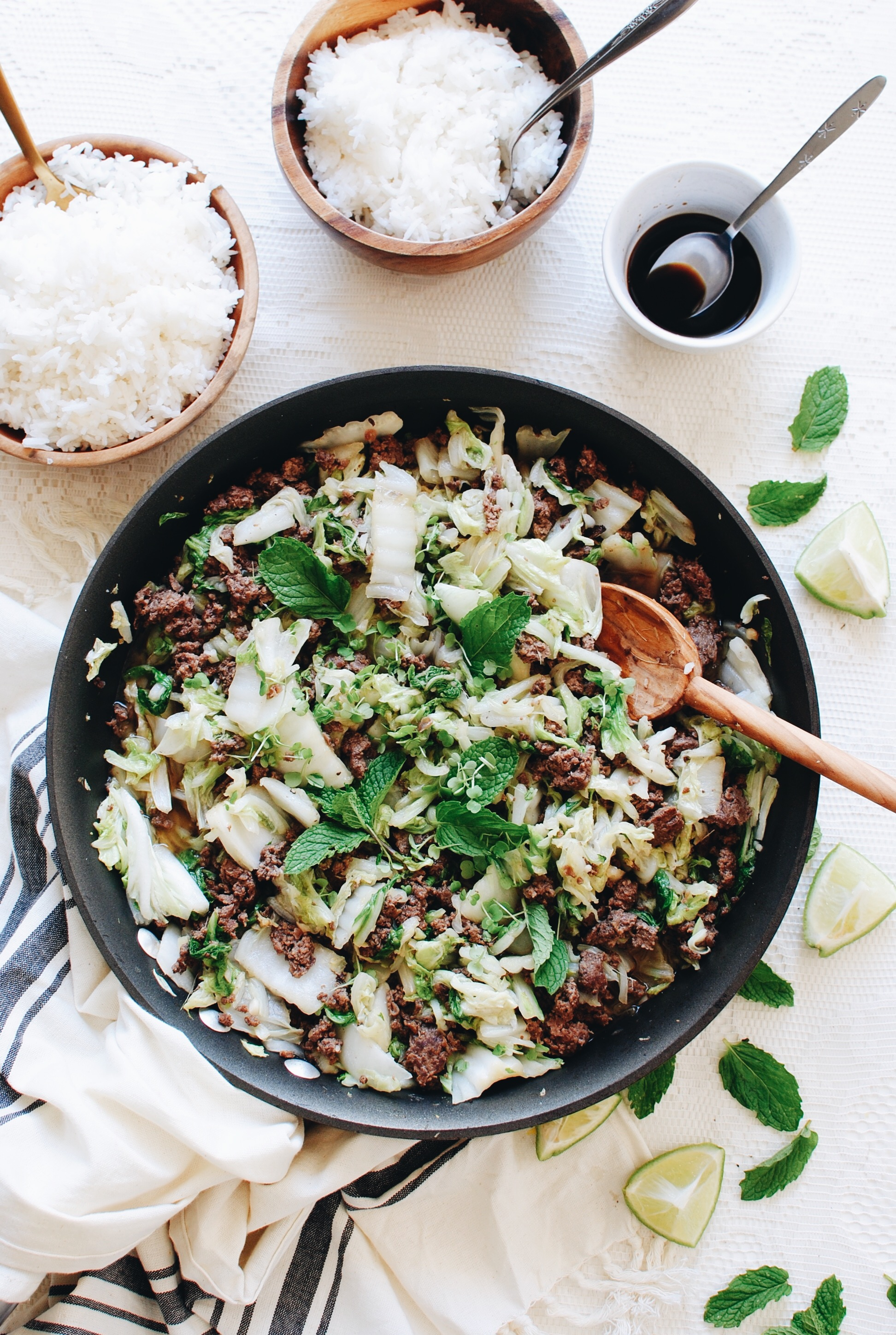 Asian Beef and Cabbage / Bev Cooks