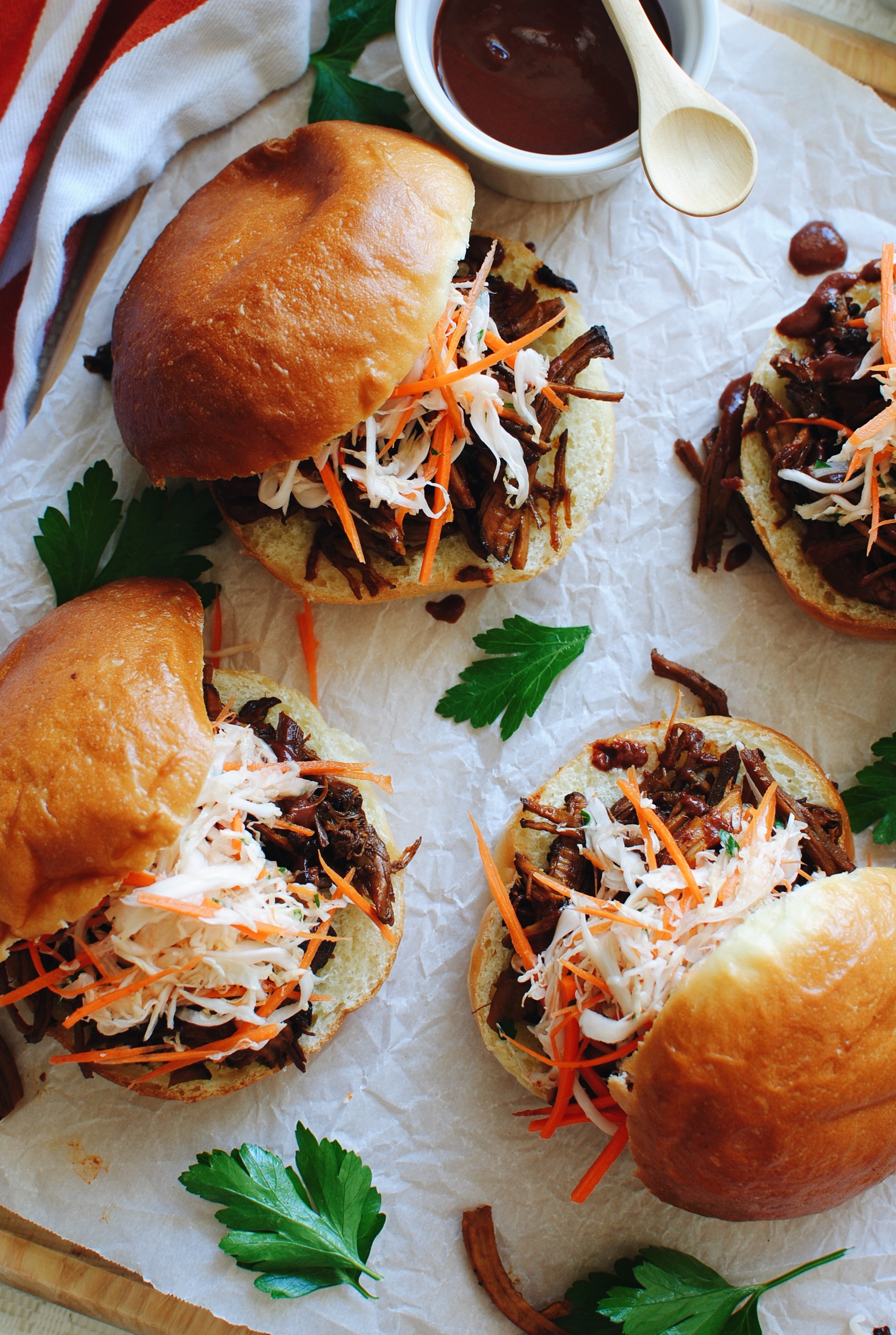Slow Cooker BBQ Pulled Pork Sandwiches / Bev Cooks
