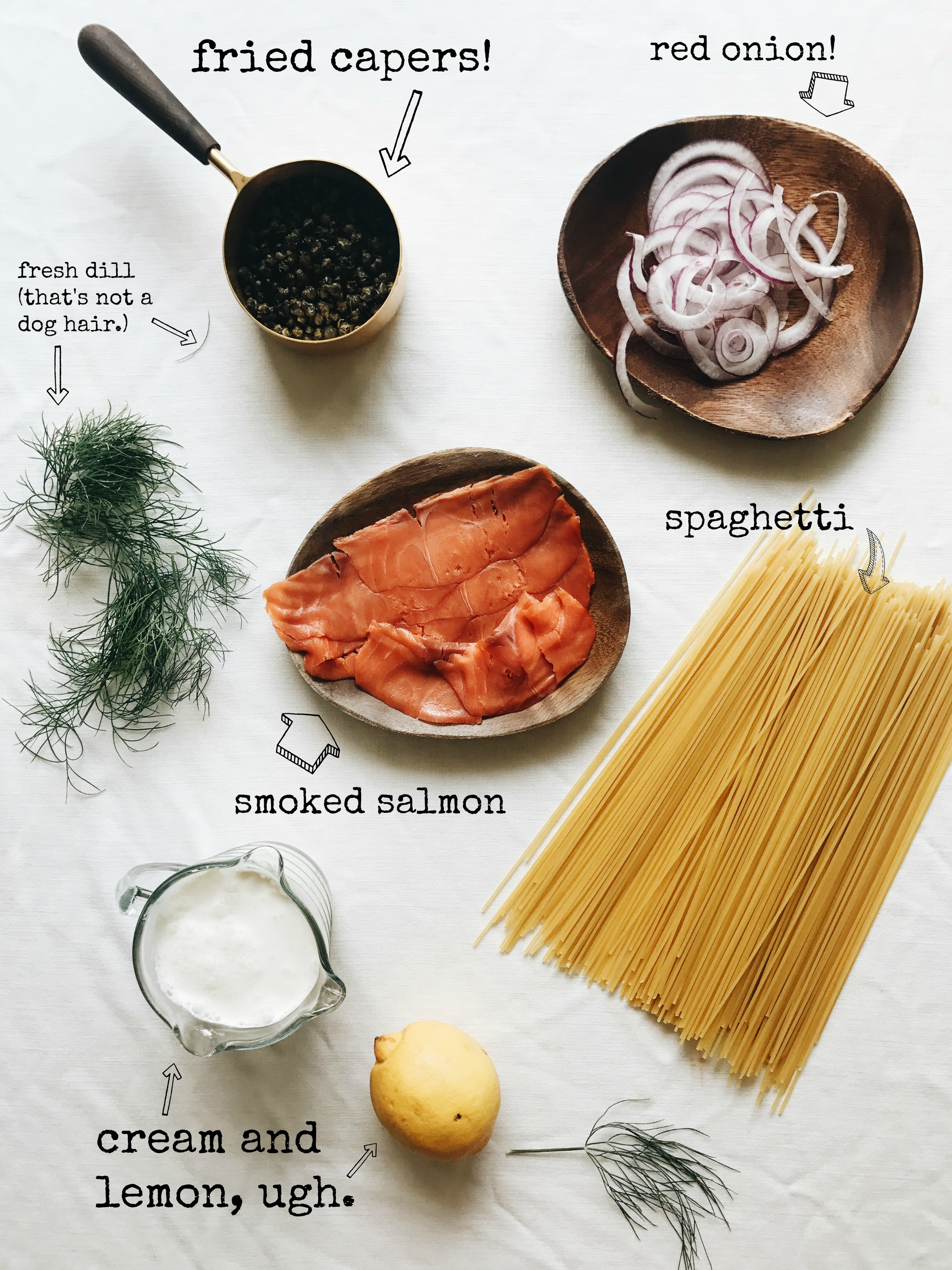 Creamy Spaghetti with Smoked Salmon and Fried Capers / Bev Cooks