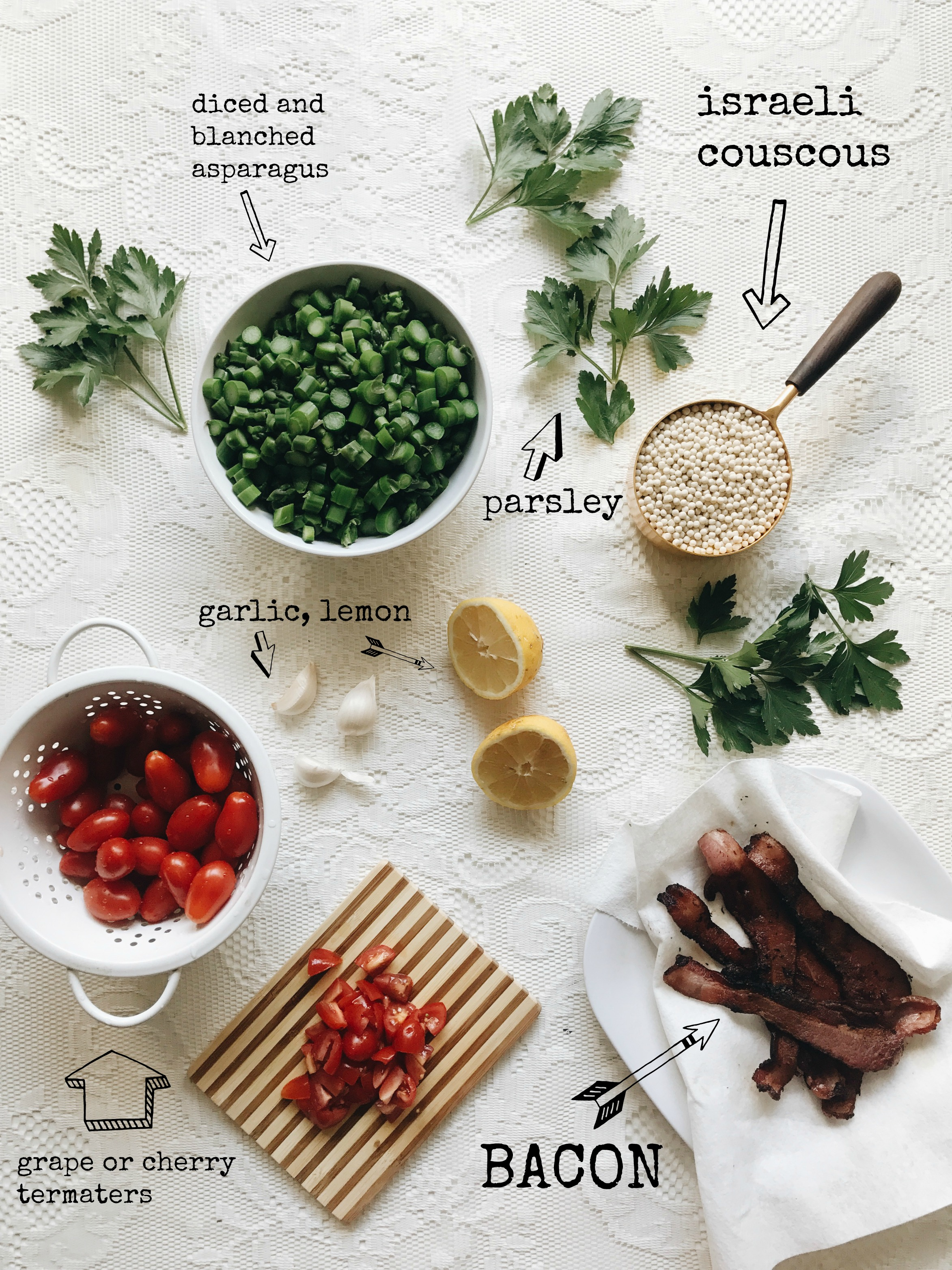Israeli Couscous Salad with Asparagus and Bacon / Bev Cooks