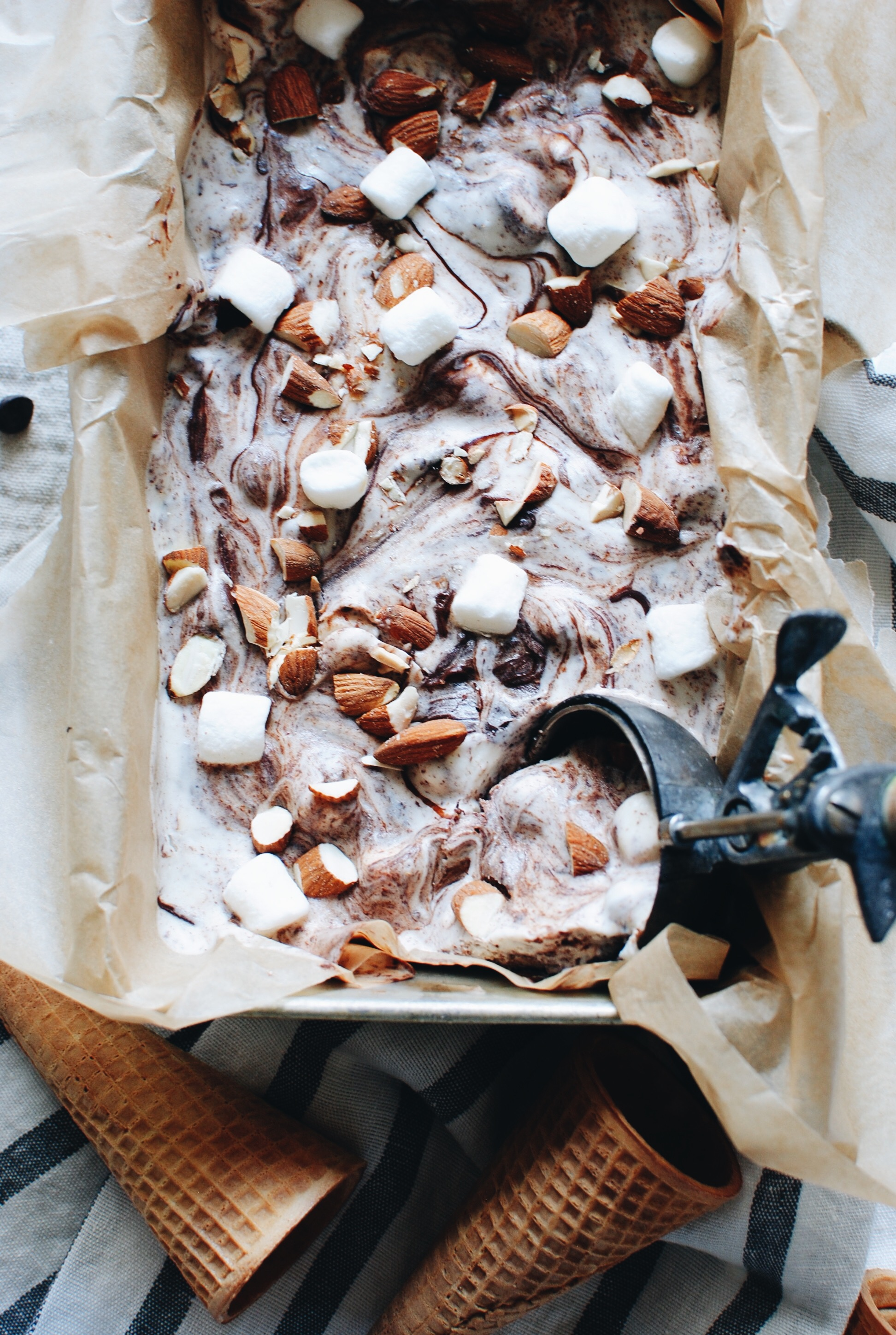 No-Churn Rocky Road Ice Cream / Bev Cooks